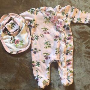 Baby Girl Sleeper and bib set